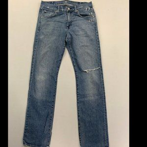 7 For All Mankind Blue Carsen Straight Leg Jean 30